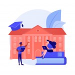 People studying remotely, e learning. Home education, distance learning, online college. University students with laptops, internet training courses. Vector isolated concept metaphor illustration